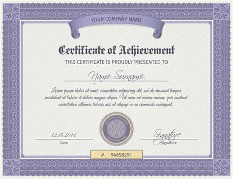 qualification certificate template vector