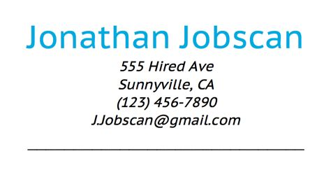 resume and contact information