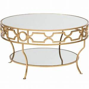 round gold detail trim mirrored top coffee table With mirrored circle coffee table