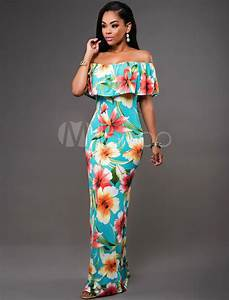 women39s maxi dress off the shoulder ruffle short sleeve With robe longue volant