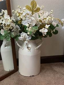 Floral, Arrangement, Placed, In, A, Large, Old, Milk, Jug, Perfect, Farmhouse, Decor
