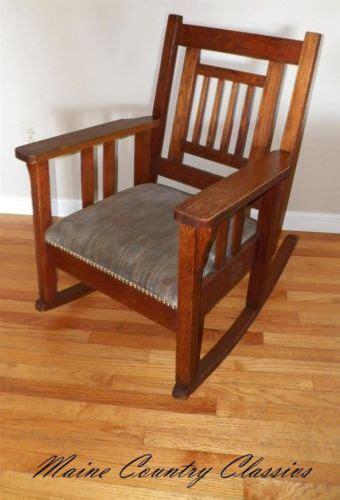 antique stickley era arts crafts mission oak rocker chair