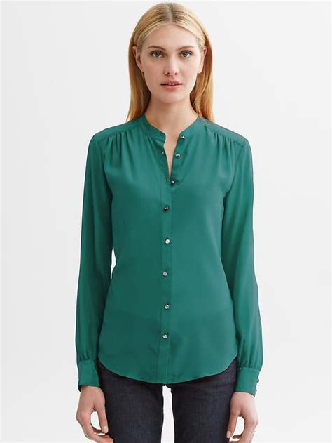 banana republic silk blouse banana republic lydia silk blouse in green velvet teal