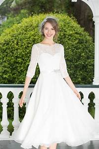 a line short tea length chiffon lace wedding dress with With tea length wedding dresses with sleeves