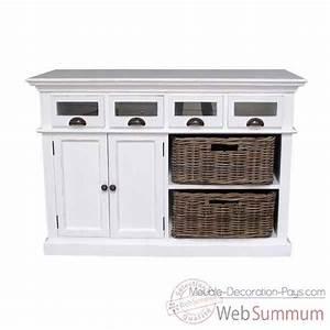 buffet de cuisine avec 2 paniers en rotin collection With deco cuisine pour meuble en rotin