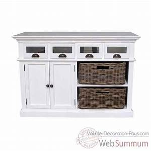 buffet de cuisine avec 2 paniers en rotin collection With deco cuisine avec buffet original meuble