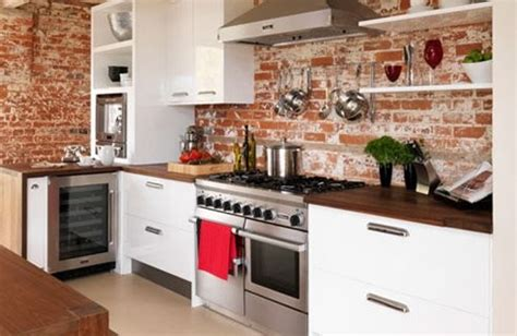 Red Brick Wallpaper In Kitchen  Traditional  Kitchen