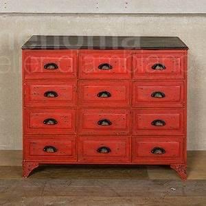Commode Style Industriel : meuble m tal 12 tiroirs patine vieux rouge style industriel mobilier magasin de d co et ~ Teatrodelosmanantiales.com Idées de Décoration