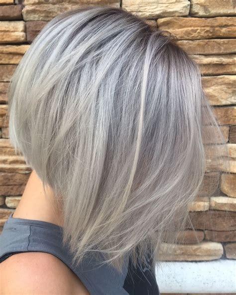Silver Grey Hair In A Concave Bob Hair Pinterest