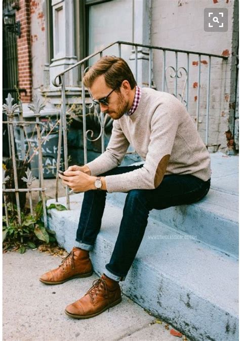 Stitch Fix Fall Men - mens fall outfit semi hipster. Leather elbow patch sweater with skinny ...