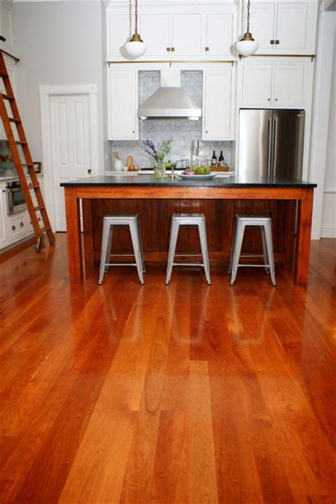 American Cherry Wood Floors Contemporary Kitchen