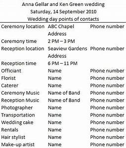Wedding day vendor contact list when it39s my time for Wedding day schedule of events template