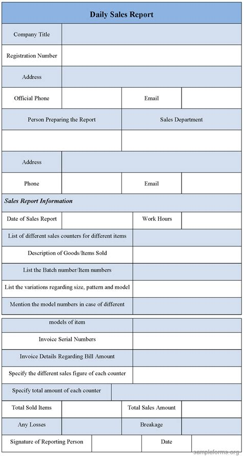 daily report daily sales report form sle forms