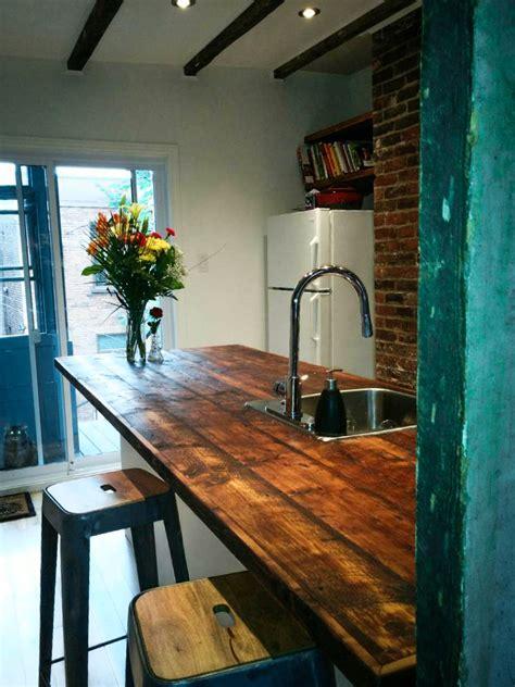 comptoir cuisine bois comptoir en bois de grange déco cuisine