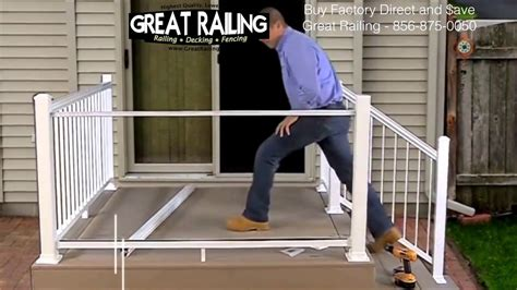 install  aluminum railing system  glass panels   trex deck youtube