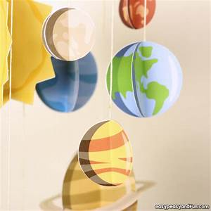 3d Paper Mobile Planets Craft Template