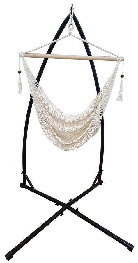white cotton rope hammock chair with tassels with stand