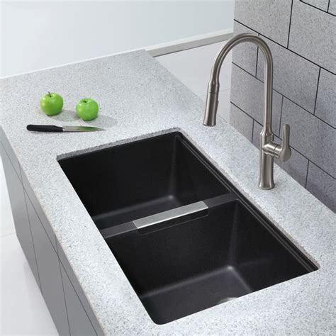black undermount kitchen sinks faucet kgu 434b in black onyx by kraus 4759