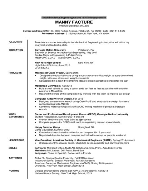 college sophomore resume template sle mechanical engineering resume freshmen sophomores free