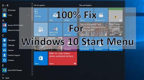 100 fix for windows 10 start menu not working