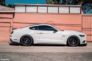 White Ford Mustang GT S550 - Forgestar F14 Wheels in Semi Gloss Black