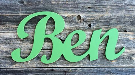 wooden letters  nursery ben  script custom