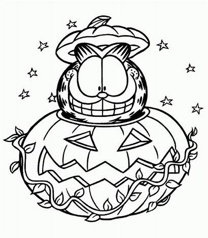 Coloring Halloween Garfield Pages Printable Sheets Pumpkin