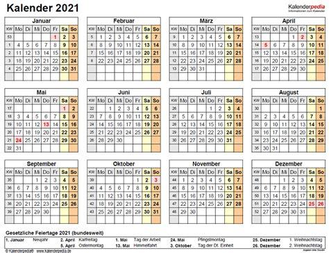 Jahreskalender 2021 mit feiertagen und kalenderwochen Kalender 2021 Mit Ferien Nrw Zum Ausdrucken