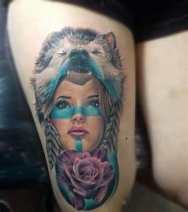 Tatouage De Femme : photo tatouage indien femme et loup sur la cuisse ~ Melissatoandfro.com Idées de Décoration