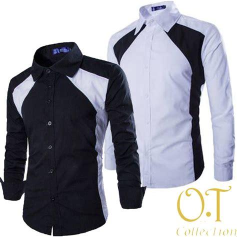 jual hem clark ot pakaian pria kemeja slim fit warna hitam dan putih di lapak sesanti hayu