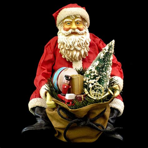 santa claus figure with bag of toys kurt s adler large
