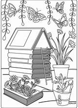 Coloring Pages Backyard Adult Landscaping Grown Ups Garden Info Books Patio Tropical Pdf Sellfy Flowers sketch template