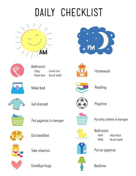 printable daily checklist  kids kids routine chart