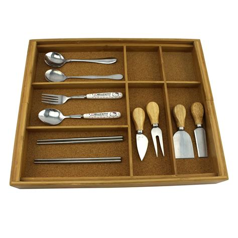homex bamboo cutlery holder  cork wood homex