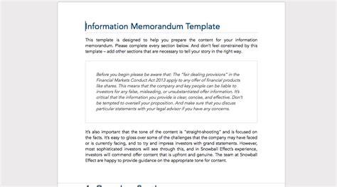 information memorandum template snowball effect