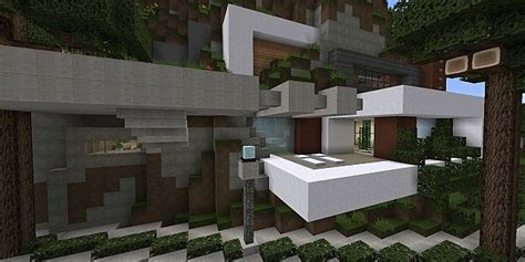 tranquility  modern cliffside home minecraft house design