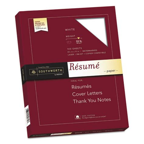 Cotton Resume Paper by Southworth 174 100 Cotton Resume Paper 32lb 95 Bright 8 1