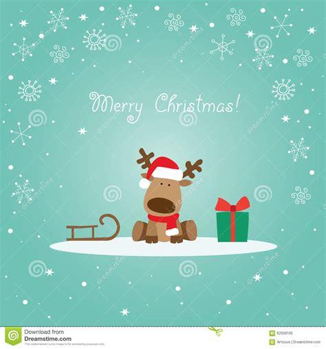 reindeer green christmas card stock vector image