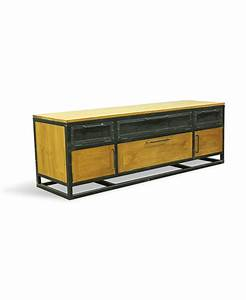 bastien industrial teak tv console With bastien parquet