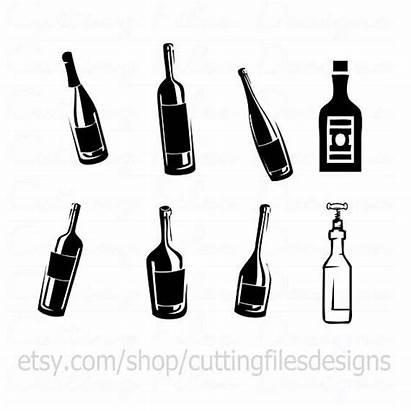Liquor Wine Svg Cricut Bottles Beer Silhouette