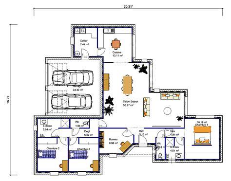 plan maison 3 chambres plain pied garage maison de plain pied en quot v quot 3 chambres crea05