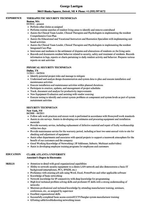 security technician resume sles velvet