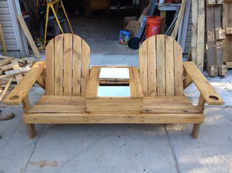 pallet wood bench with cooler ravenwood furniture and