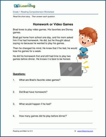 homework  video games grade  childrens story