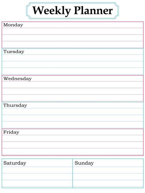 images  printable weekly calendars  pinterest
