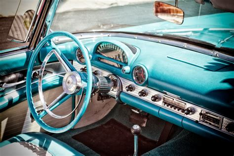 1950s Ford Thunderbird Classic Car Interior 50s Car