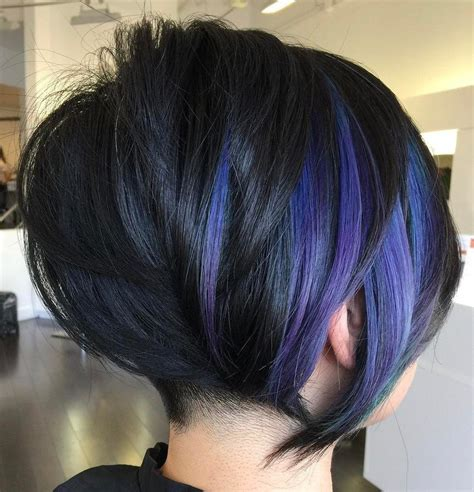 gorgeous long pixie hairstyles purple balayage black