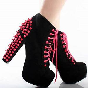 Neon Pink Studded Chunky Heel Boots Shoes