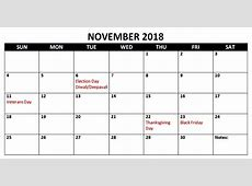 November 2018 Free Calendar with Holidays Download Free
