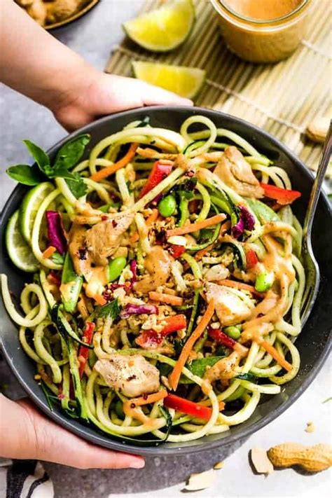 healthy asian garden asian zucchini noodle salad with thai peanut dressing